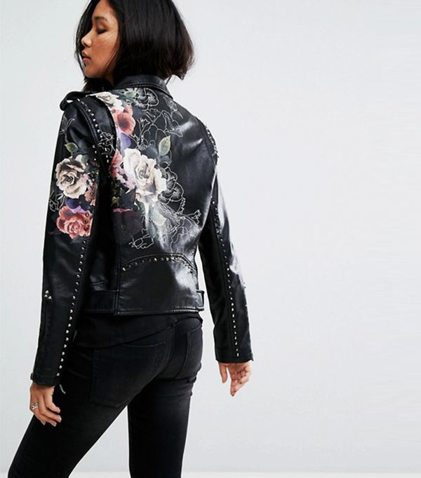 Blank NYC Leather Look Jacket With Floral Detail