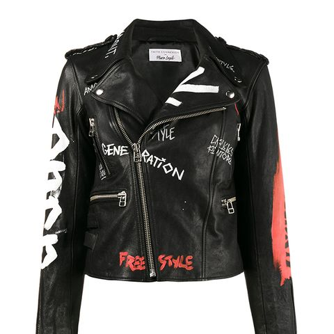 Hand Painted Biker Jacket