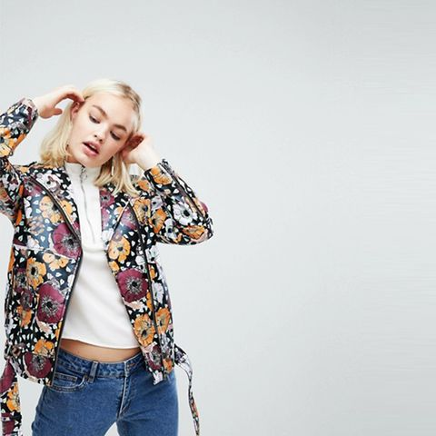 Faux Leather Painted Floral Biker Jacket