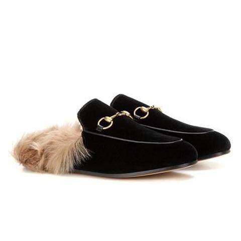 Princetown Fur-Lined Velvet Slippers