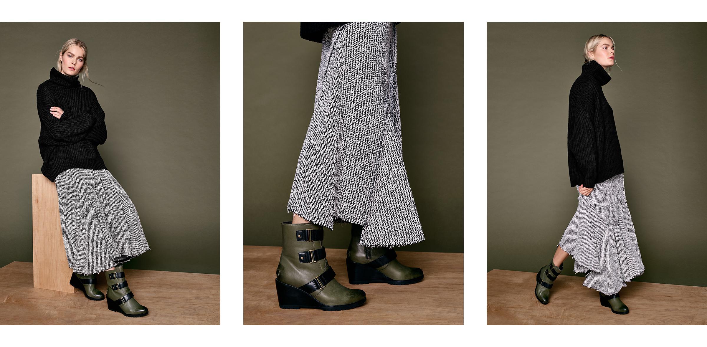 knit skirt buckle boots