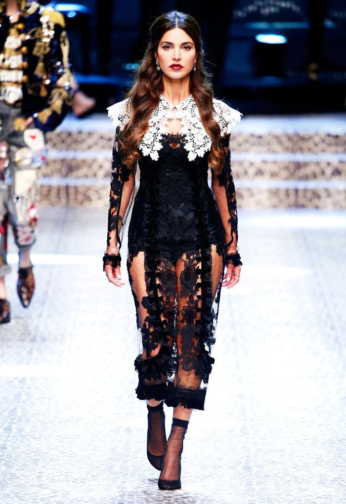 Lace dress at Dolce & Gabbana A/W17 Milan Fashion Week