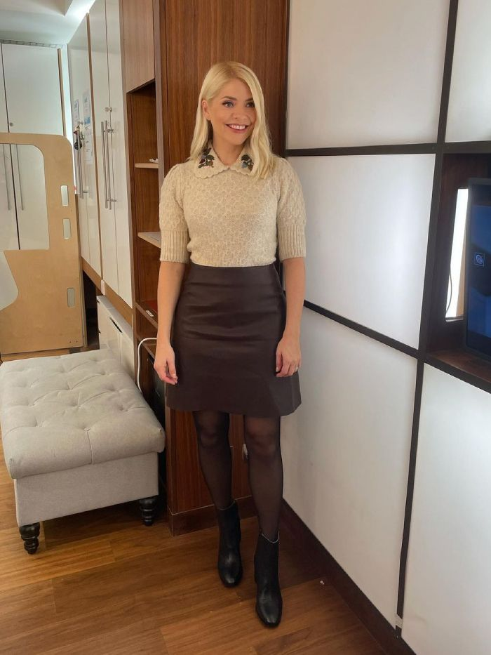 holly willoughby style: holly wears a zara jumper and a skirt from massimo dutti