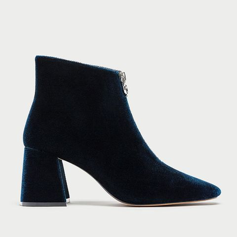 Chunky High Heel Ankle Boots With Zip