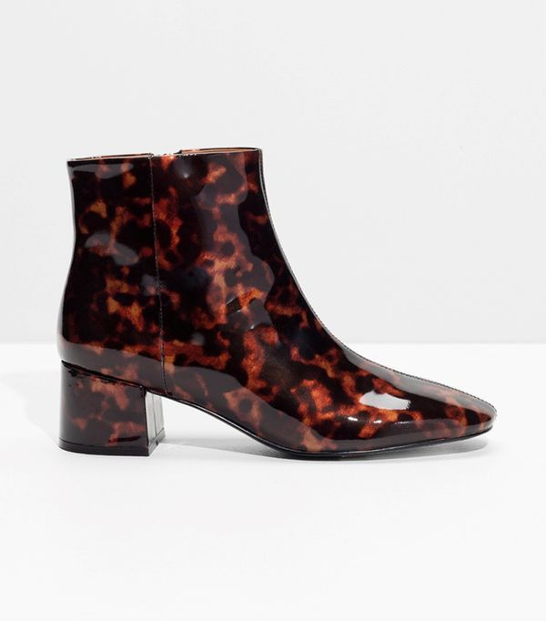 & Other Stories Golden Leather Ankle Boots