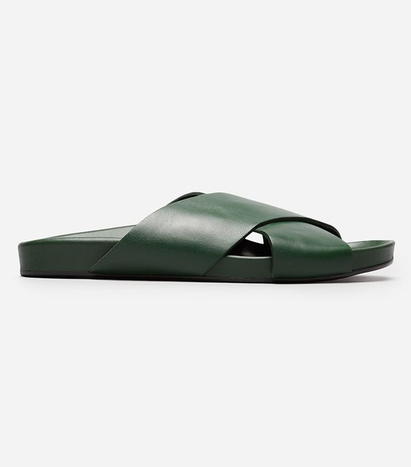 Everlane Crossover Sandal in Dark Green