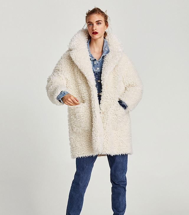 Zara Textured Curl Knit Coat