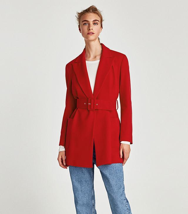 Zara Coat With Wide Belt