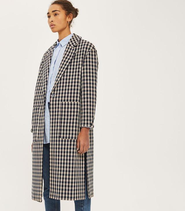 Topshop Checked Side Split Coat