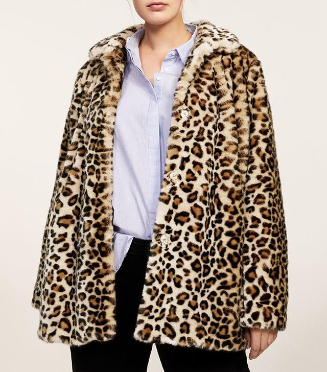 Violeta by Mango Leopard Faux-Fur Coat
