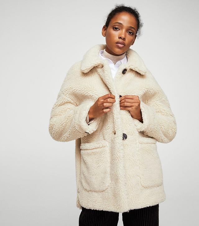 Mango Faux Shearling-Lined Coat