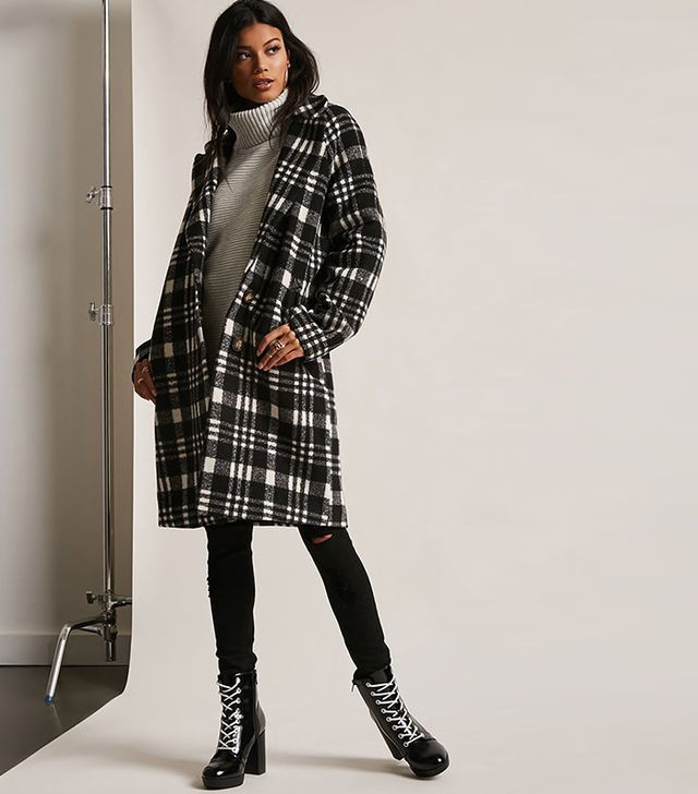 Forever 21 Plaid Buttoned Topcoat