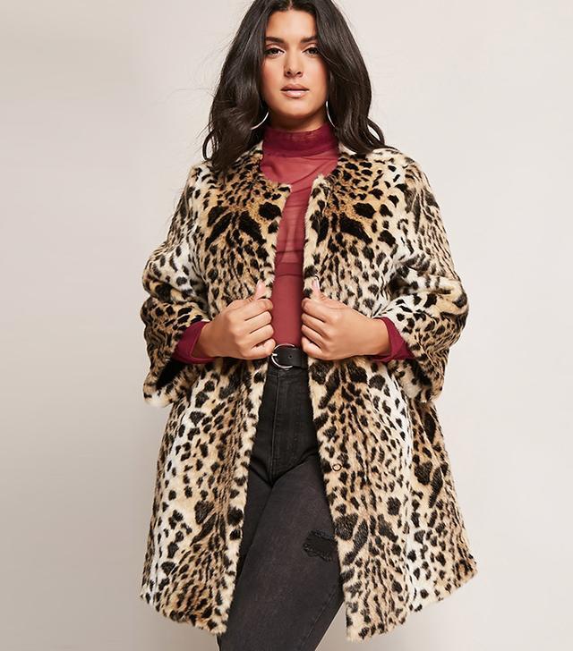 Forever 21 Shaci Leopard Faux Fur Coat