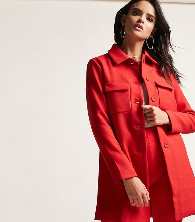 Forever 21 Twill Button Coat