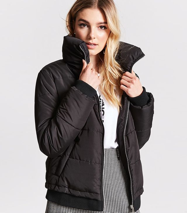 Forever 21 Zip-Up Puffer Jacket