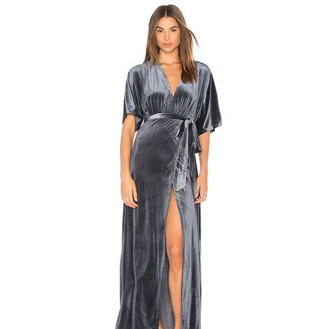 Dreamer Velvet Wrap Dress in Blue