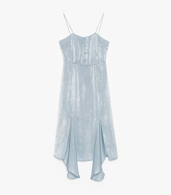 blue slip dress