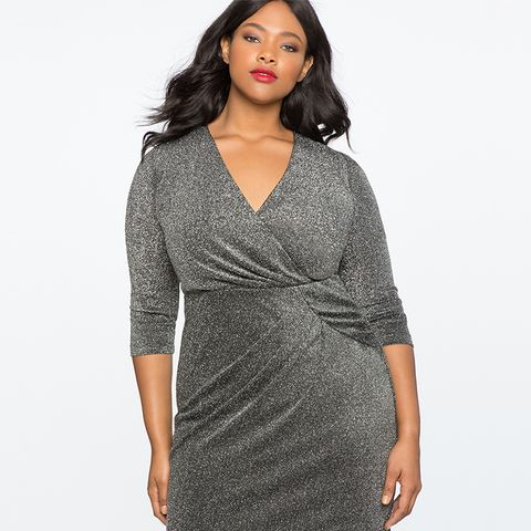 Draped Front Metallic Knit Dress