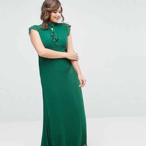Flutter Sleeve Fitted Maxi Dress in Chiffon