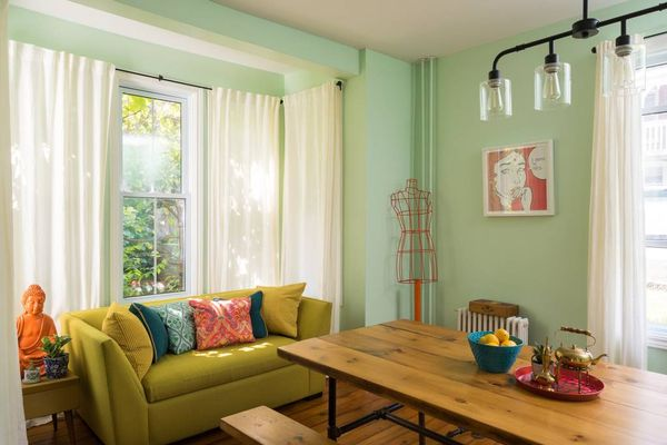 The eclectic décor of this room screams Wes Anderson.