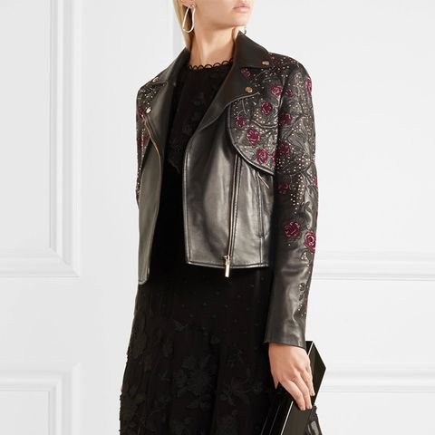 Embroidered Leather Biker Jacket