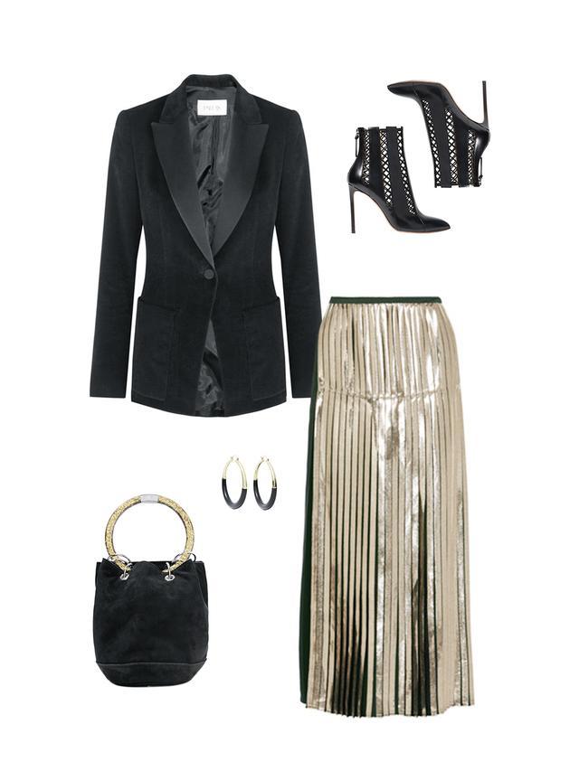 gold skirt black blazer