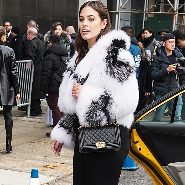 ashley graham fur coat