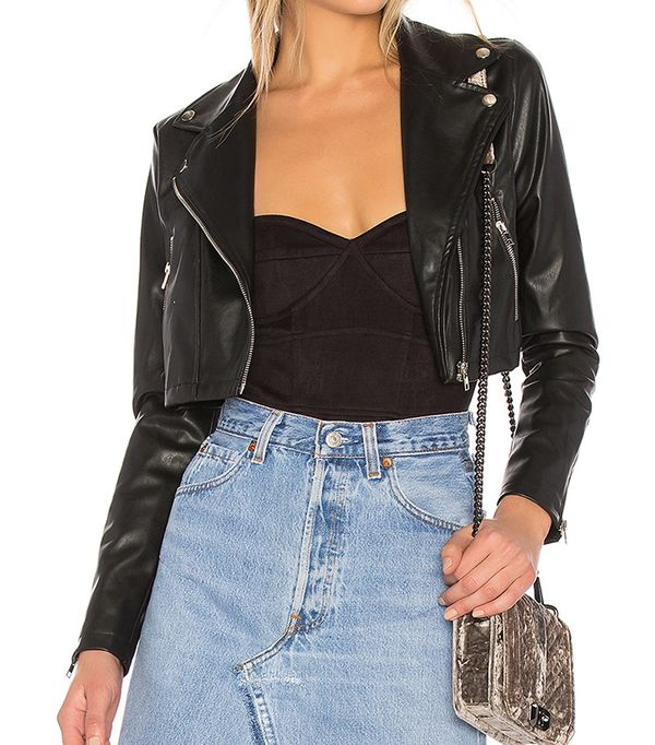 Sloane Faux Leather Cropped Moto in Black. - size L (also in S,M,XL)