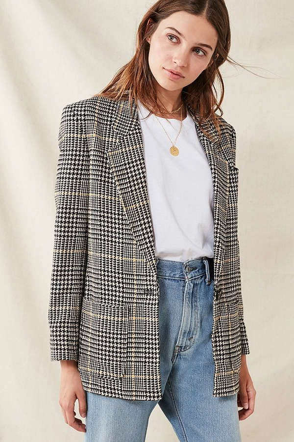 Vintage Oversized Blazer - Black Multi M/L at Urban Outfitters