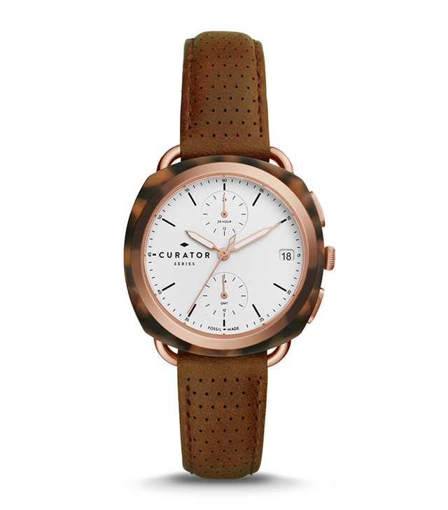 Fossil The Curator Series Fossil X Amber Interiors Multifunction Brown Leather Watch