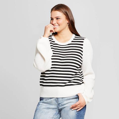 Plus Size Cozy Striped Crew Sweater