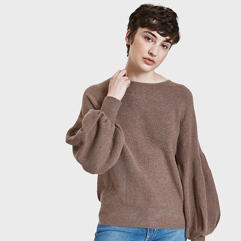 Bishop Sleeve Sweater in Brown