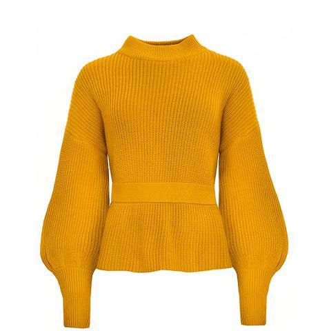 Laurel Mustard Open Back Belted Sweater