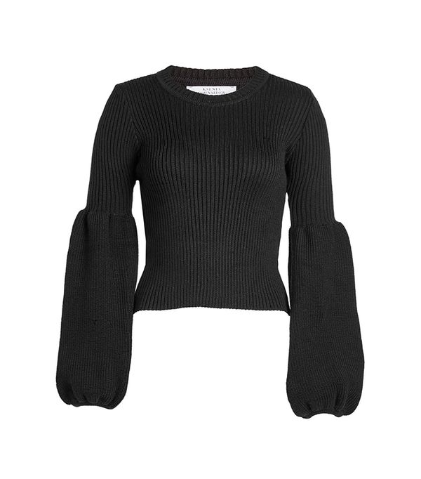 Wool-Blend Pullover with Statement Sleeves