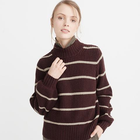 Puff Sleeve Mock Neck Sweater