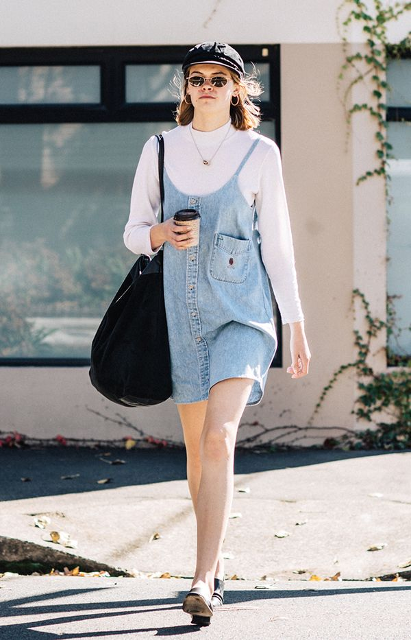 denim jumper outfit