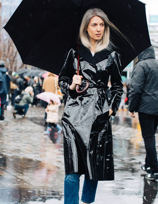 Shine bright on a dreary day in a glossy vinyl or patent coat.