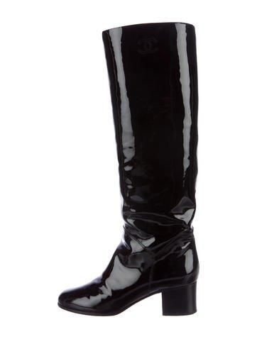 Chanel CC Patent Knee-High Boots