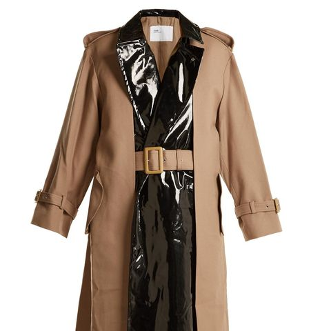 Pleat-Front Contrast-Panel Belted Trench Coat