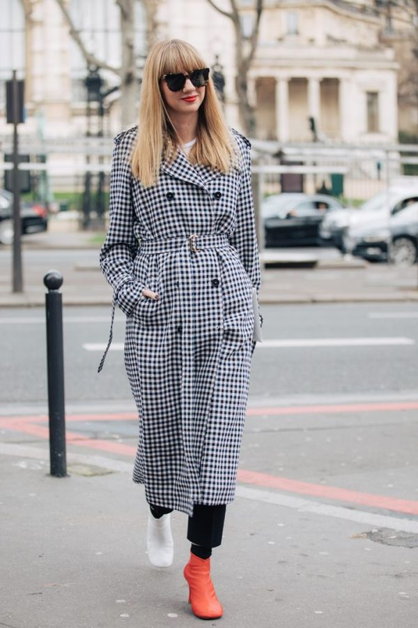 Rain, rain, don't go away—we really want to wear this check coat today.
