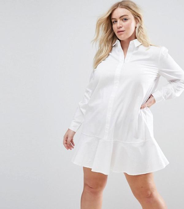 ASOS CURVE Peplum Mini Shirt Dress