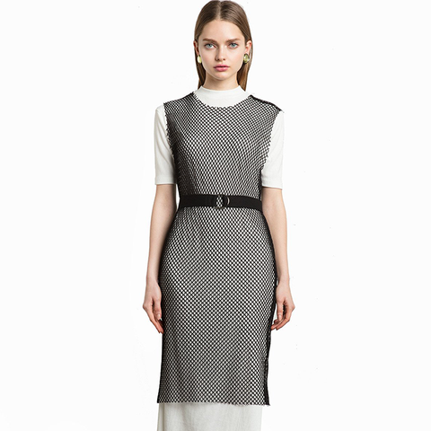 Fishnet Belted Midi Dress