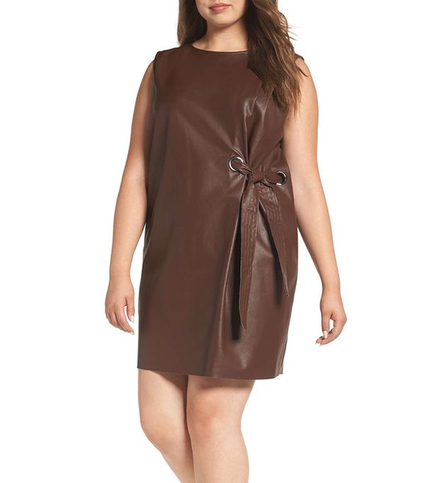 Plus Size Women's Elvi Faux Leather Shift Dress