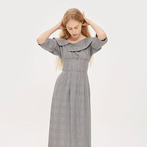 Off the Shoulder Checked Midi Dress
