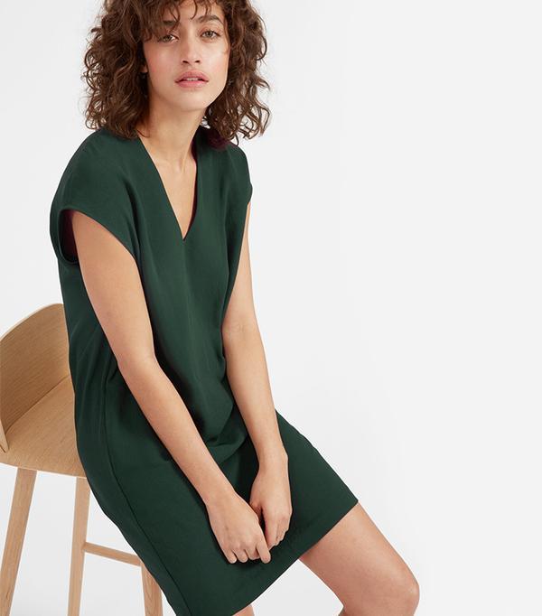 Women's Japanese GoWeave V-Neck Cocoon Dress by Everlane in Dark Green, Size 10