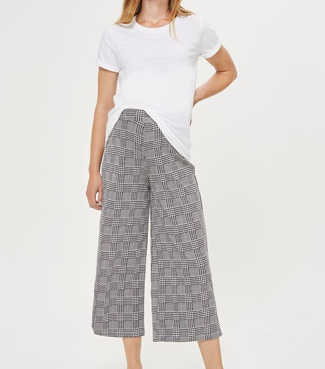 Topshop Checked Wide Leg Trousers