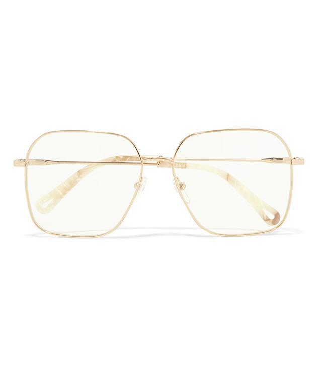 Chloé Palma Square-frame Gold-Tone Optical Glasses