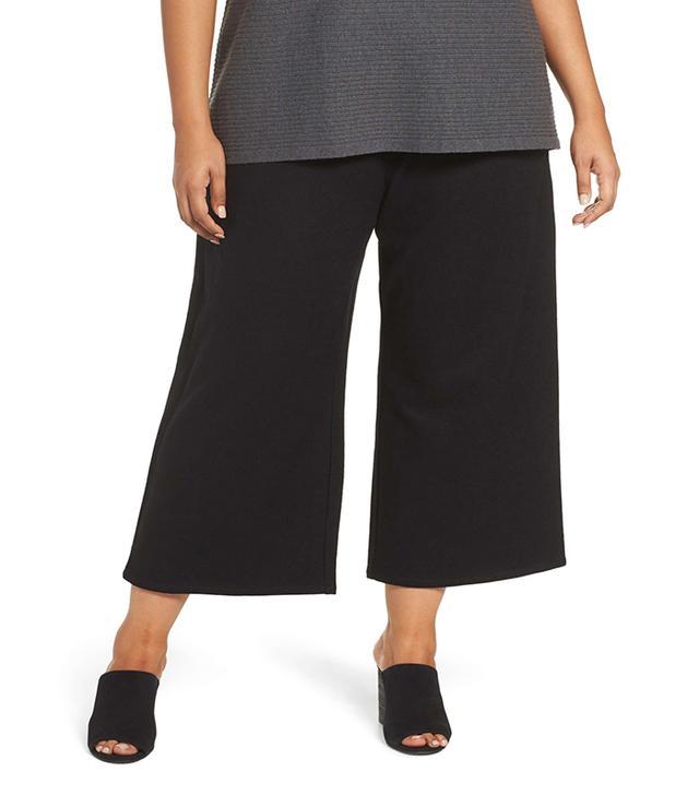 Eileen Fisher Wide Leg Drawstring Wool Pants