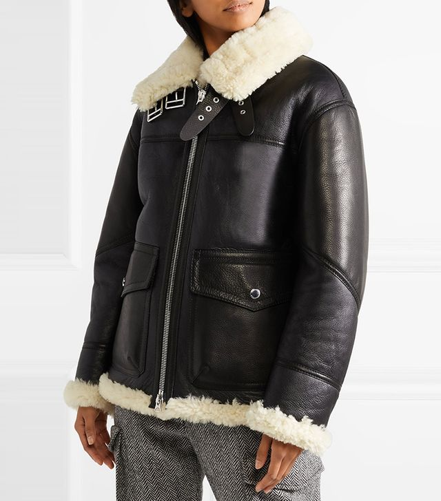 Burberry Shearling-Lined Leather Coat