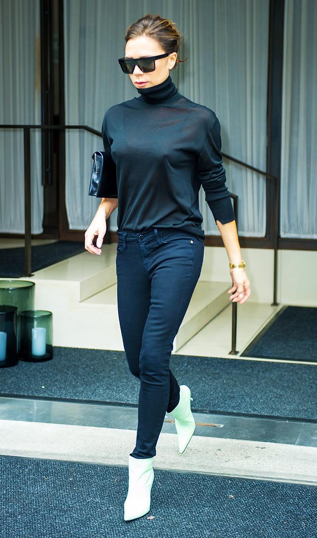 Victoria Beckham green Balenciaga boots